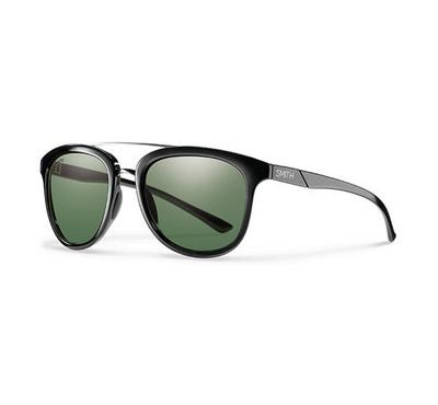 Smith Unisex Shiny Black Sunglasses With Plastic Green Pz Cp Lens
