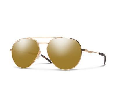 سميث نظارة شمسية رجالي، بني، عدسات بلاستيك ذهبي