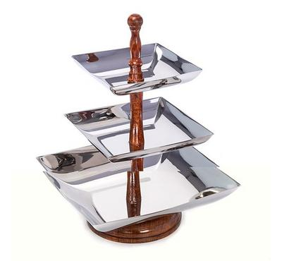 A La Mode Wood Handle Square Cookies Stand - Three Tier
