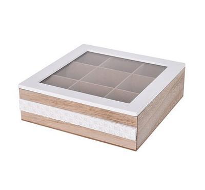 صندوق خشبي لحفظ الشاي مقاس 24*24*7.5سم - 9 تقسيمات
