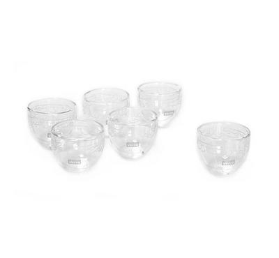 6 Pcs Double Wall Cawa Borosilicate Glass Cup Serves 6 Persons Plain Calligraphy Matte