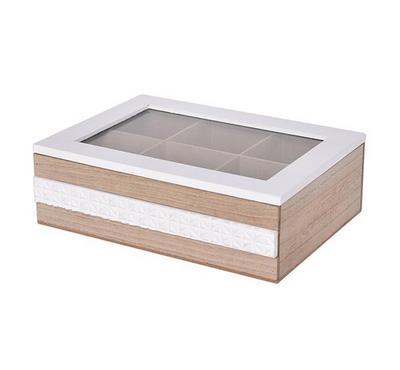 صندوق خشبي لحفظ الشاي مقاس 24*24*7.5سم - 6 تقسيمات