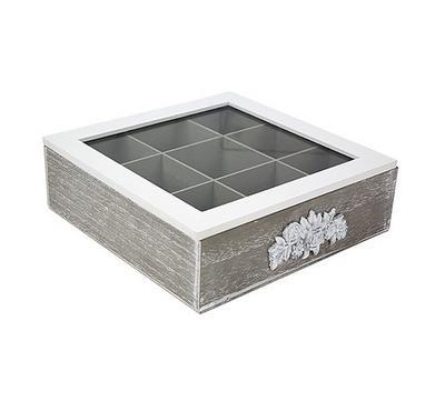 صندوق خشبي لحفظ الشاي مقاس 24*24*6.5سم - 9 تقسيمات