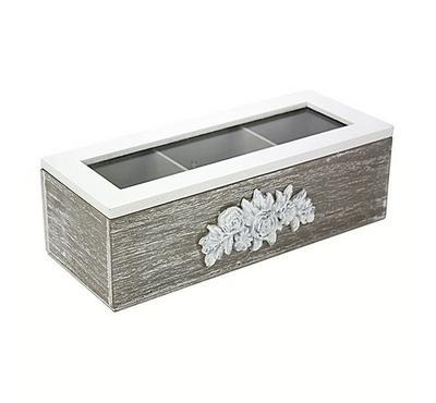 صندوق خشبي لحفظ الشاي مقاس 24*9.5*6.5سم -3 تقسيمات