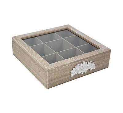 Mdf Glass Tea Box, 9Parts, 24*24*6.5Cm