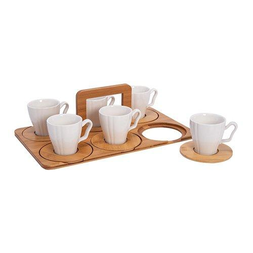 3Pcs Ceramic Coffee Cup Set, With Bamboo Tray7.5*7.5Cm Dish:11Cm