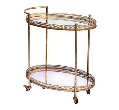طاولة تقديم مع عجلات لون ذهبي مقاس 50*60سم
