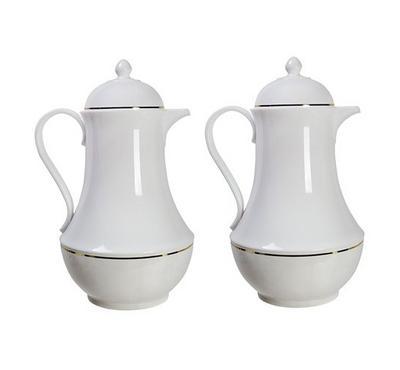 2Pcs Dallety 1.0L Plastic Vacuum Flask Set Dallah White Color