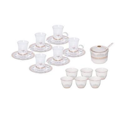 20 Pcs Of Arabic Tea Glass & Porcleain Saucer & Cawa Cups  Classic Design