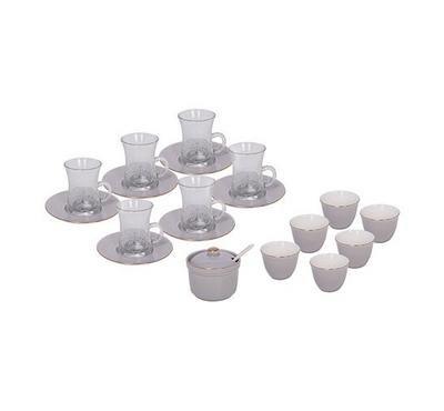 20 Pcs Of Arabic Tea Glass & Porcleain Saucer & Cawa Cups  Design Grey Basic