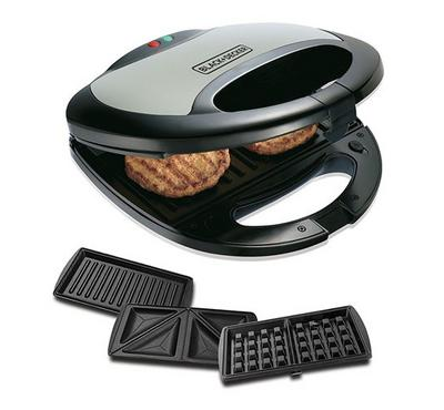 Black and Decker 3-in-1 2s Sandwich Maker/Grill 750W Black/Silver