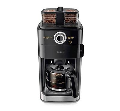 Philips Coffee Machine, Grind and Brew, 1.2L, 1000W, Black Metal