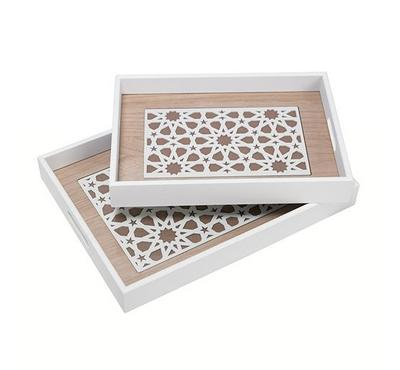 2Pcs Woodren Serving Trays White Color Arabic Pattren