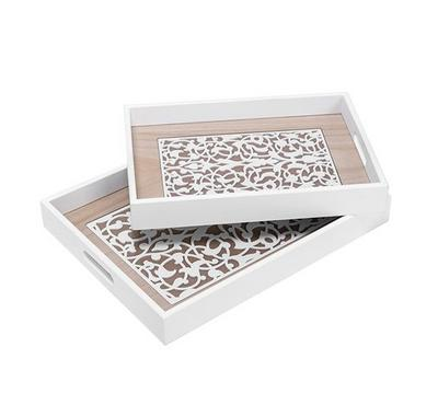 2Pcs Woodren Serving Trays White Color Westren Pattren