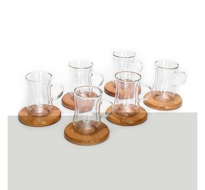 Glass Double Wall Coffee Cup Set,6Cup+6Bamboo Dish,