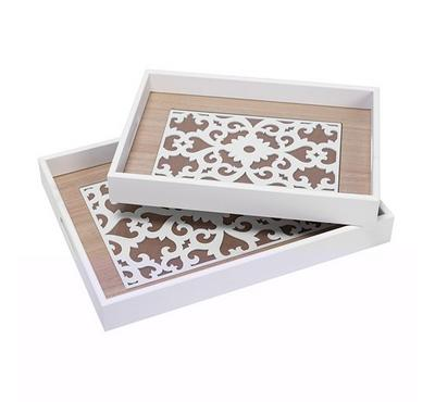 2Pcs Woodren Serving Trays White Color Flower Pattren