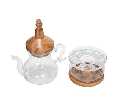 Arabic Tea Pot W/ Warmer Set Bamboo Design