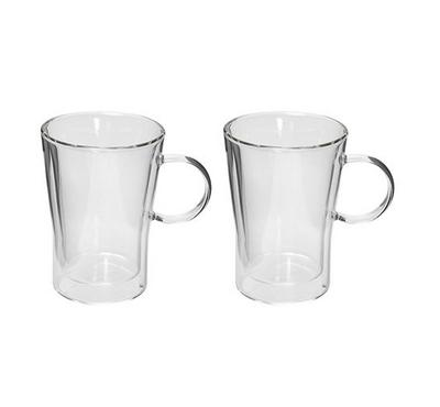 Verre 2Pcs Tea & Coffee Cup Set W/ Handle Double Wall