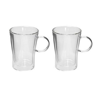 طقم 2 كاسات مع يد زجاج مزدوج للقهوة