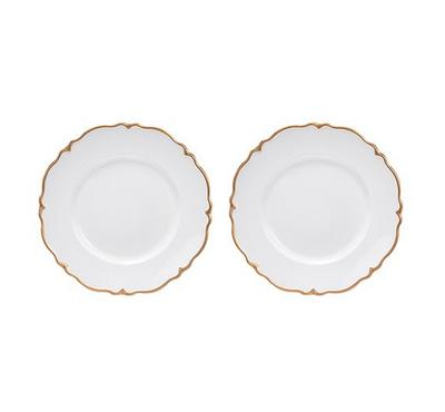 La Mesa 2Pcs  Charger Plate, Ivory And Gold