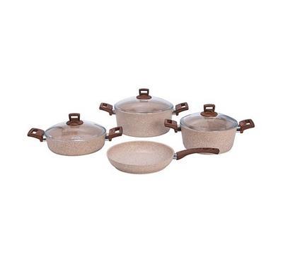 Alberto Granite Series 7Pcs Cookware Set Brown Stone