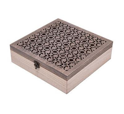 17Z204A# Mdf+Ps Tea Box,With Key,1Pc/White Box. 9Sections
