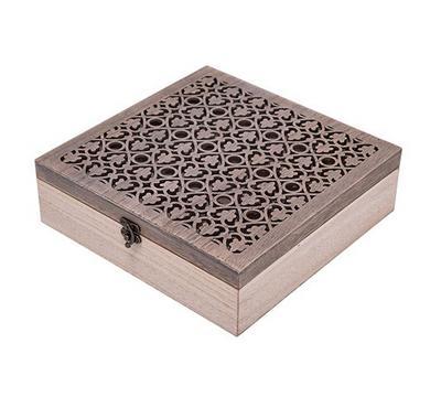 صندوق خشبي لحفظ الشاي مع مفتاح لون أبيض