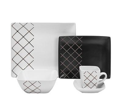 La Mesa Rect Dinner Set 20Pcs Serve 4 Persons, Black & White