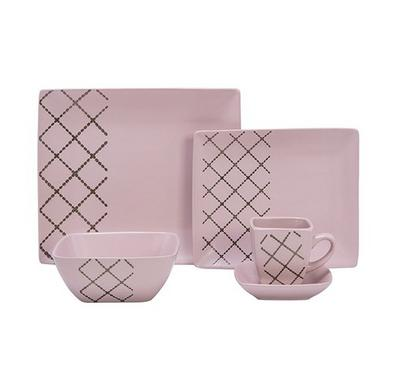 La Mesa Rect Dinner Set 20Pcs Serve 4 Persons L-Pink Color