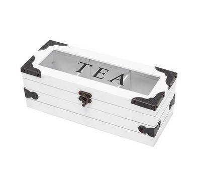 صندوق خشبي زجاج لحفظ الشاي مقاس 24*9.6*8.8سم - 3 تقسيمات