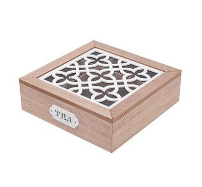 صندوق خشبي لحفظ الشاي - 9 تقسيمات