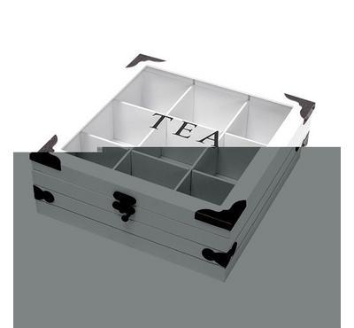 صندوق خشبي*زجاج لحفظ الشاي مقاس 24*24*8.7سم - 9 تقسيمات