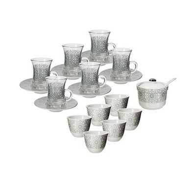 20 Pcs Of Arabic Tea Glass And Coffee Porcleain Design Silver Turkish Design