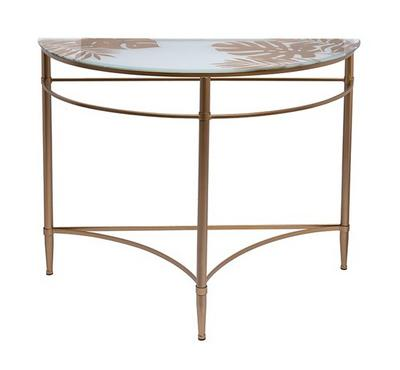 """Console Table """"Gold Leaf"""" Glass And Metal"""