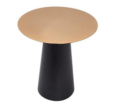 Side Table Iron Black Base And Brass Top