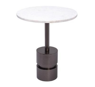 طاولة جانبية معدن لون أسود وسطح رخام أبيض مقاس 41*41*47سم