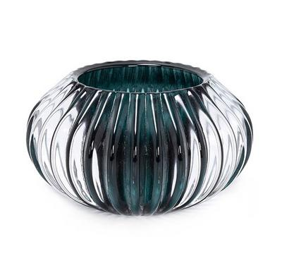 Candle Holder Glass Dark Green