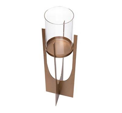 Candle Holder Metal & Glass Gold