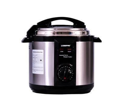 Geepas 6.0L Electric Pressure Cooker 1190W Black/Silver