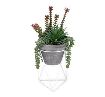 Artificial Plants Mix Succelent In Cement Pot With Metal Stand Green