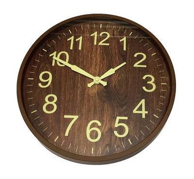 Qumex 35CM Wall Clock Round type brown