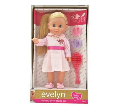 Dolls World Evelyn 12 Inches Doll on a Dress