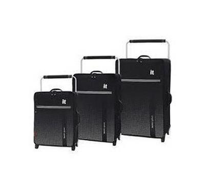 IT, worlds lightest soft Luggage 3 PCS Trolley suit case set 80,70, 57 CM black