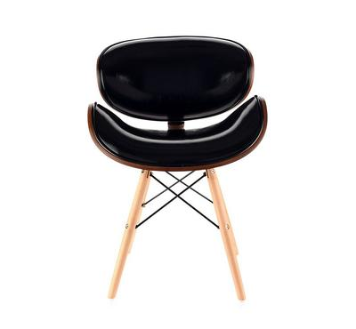Homez Stylish Design Chair made with Plywood Walnut and base Black Cushion and Solid Wood Legs