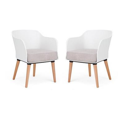 Homez Stylish Design Chair White, Light Brown & Natural Oak (Set of 2 Chairs)