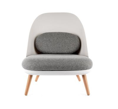 Homez Stylish Design Lounge Chair White, Grey & Natural Oak