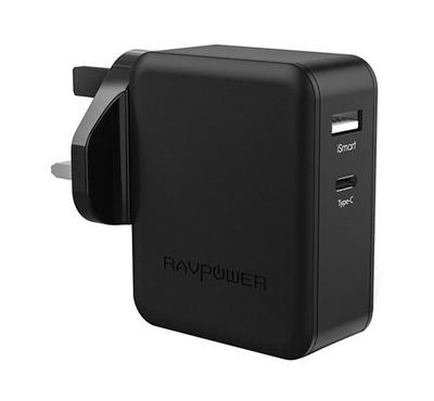RAVPower PD 36W 2-Port Wall Charger (UK), Black