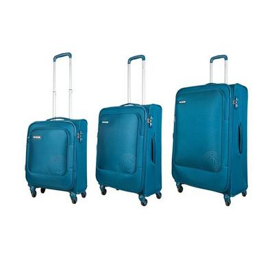 Carlton 3pc Expandable 81 SPINNER Luggage Trolley Blue