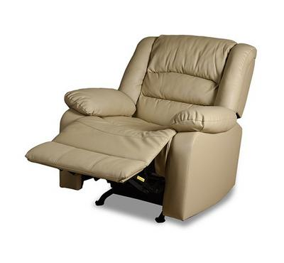 Rocking Recliner Armchair Artificial Leather Beige
