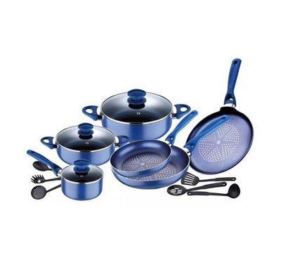 Bergner DIAMANTI 15pcs Aluminum Cookware Sets Blue